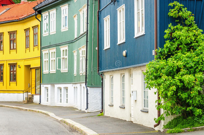 Wooden village in the City,of Oslo, Scandinavia royalty free stock photo