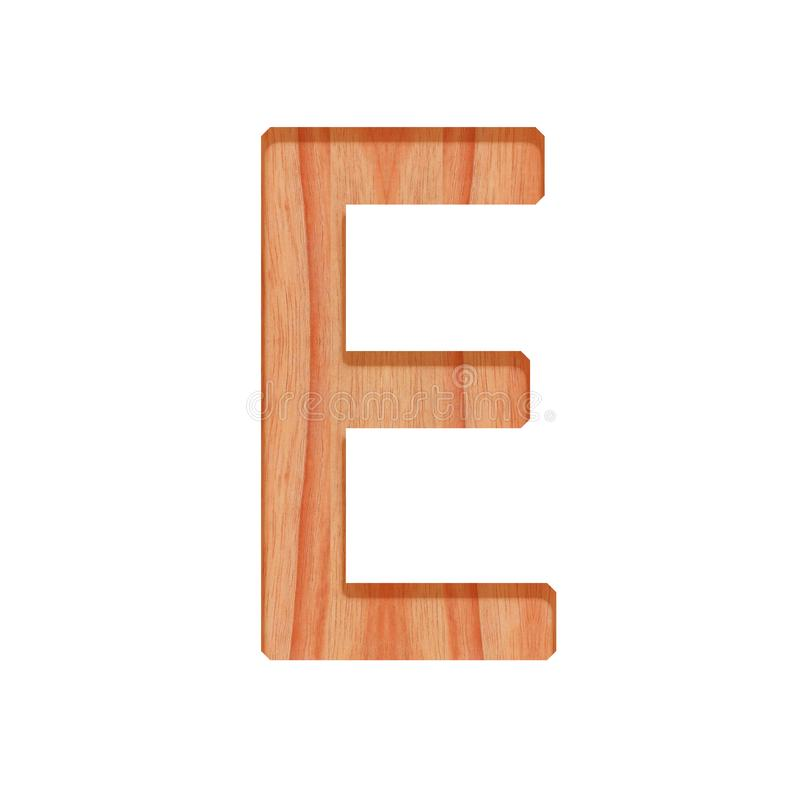 Wooden vintage alphabet letter pattern beautiful 3d isolated on white background, capital letter E. Wooden vintage alphabet letter pattern beautiful 3d isolated stock photography