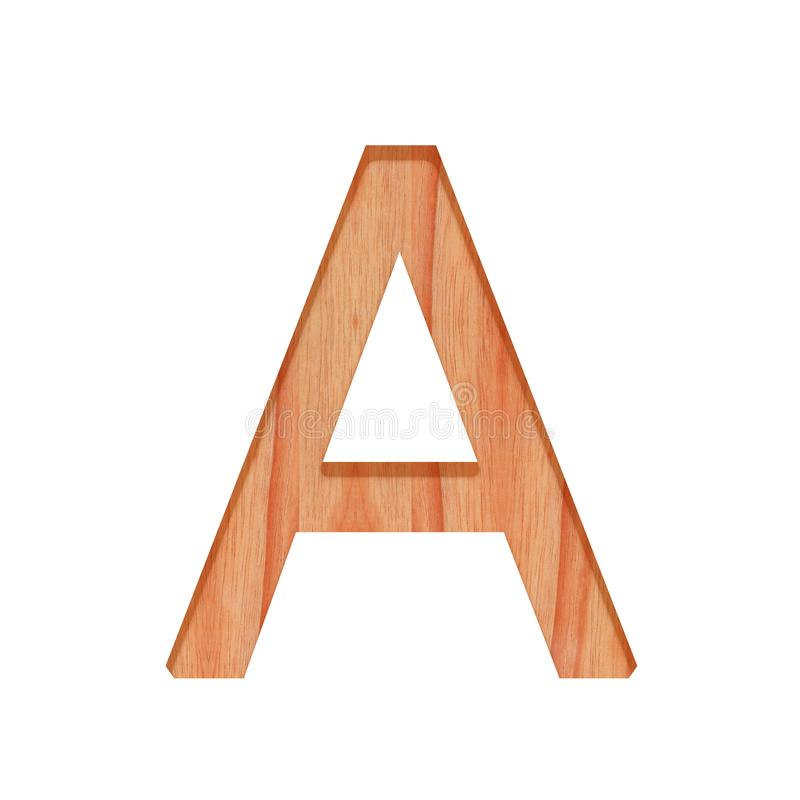 Wooden vintage alphabet letter pattern beautiful 3d isolated on white background, capital letter A. Wooden vintage alphabet letter pattern beautiful 3d isolated royalty free stock photos