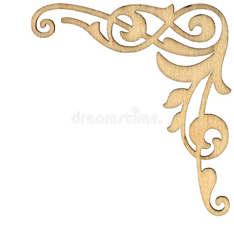 Wooden vintage baroque corner ornament, decorative design element, isolated on white background stock photo