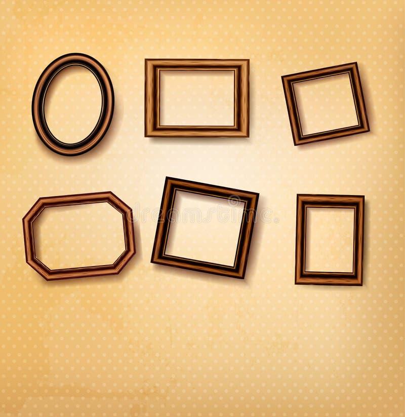 Wooden vintage frames on old wall. Vector illustration vector illustration