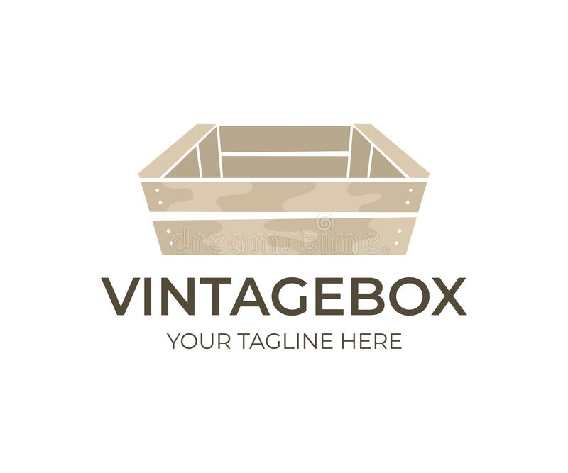 Wooden vintage and old box, logo design. Wooden boxes for transportation and storage food, fruit, vegetable and drink, vector desi royalty free illustration