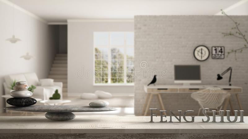 Wooden vintage table shelf with stone balance and 3d letters making the word feng shui over scandinavian living room with corner o stock illustration