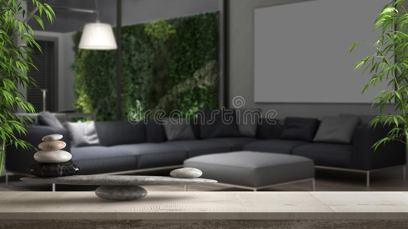 Wooden vintage table or shelf with stone balance, over blurred mnimalistic living room with vertical garden, feng shui, zen concep vector illustration