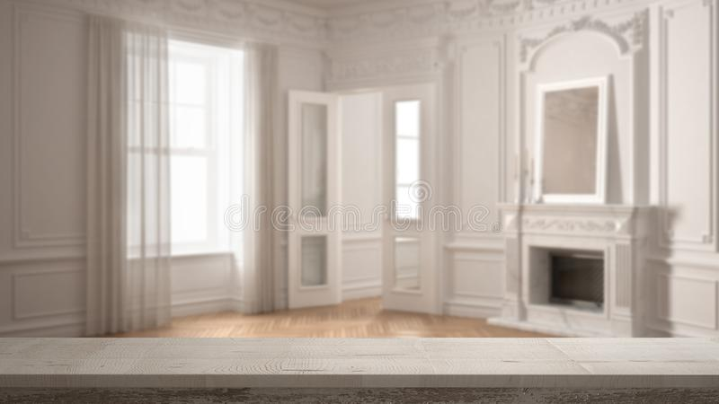 Wooden vintage table top or shelf closeup, zen mood, over blurred classic empty room with big window with fireplace, white archite stock photos