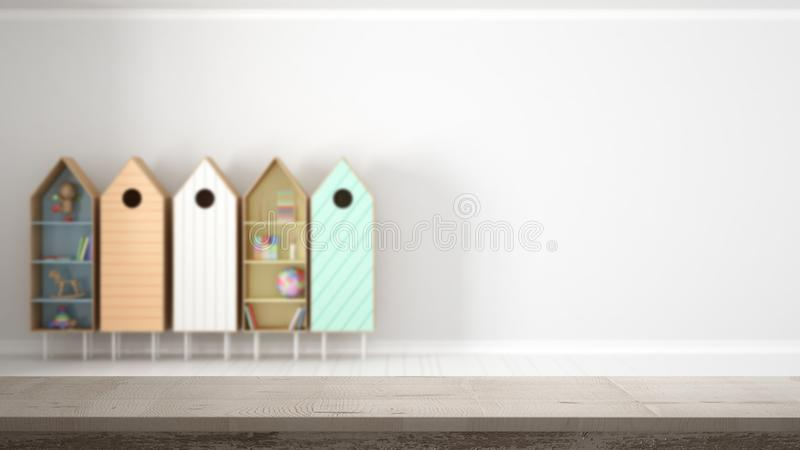 Wooden vintage table top or shelf closeup, zen mood, over blurred empty child kids room with colorful bookshelf , white architectu stock image