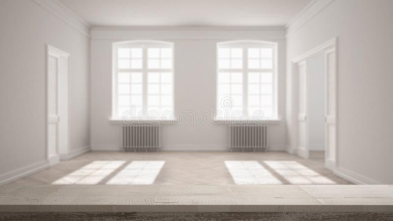 Wooden vintage table top or shelf closeup, zen mood, over blurred empty room with parquet floor, big windows, doors and radiators, royalty free stock image