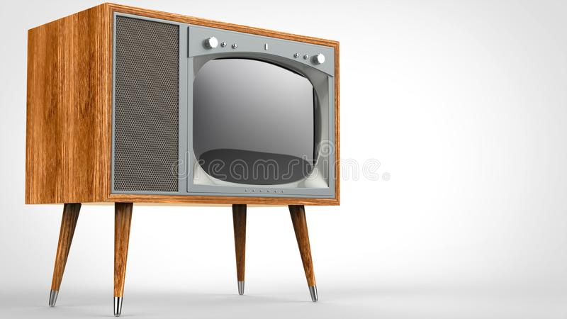 Wooden vintage TV set with legs. Studio shot royalty free illustration