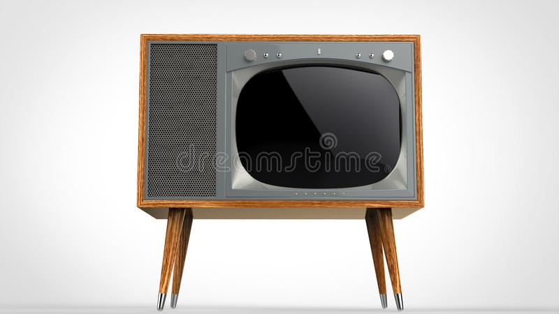 Wooden vintage TV set with legs. On white background royalty free illustration