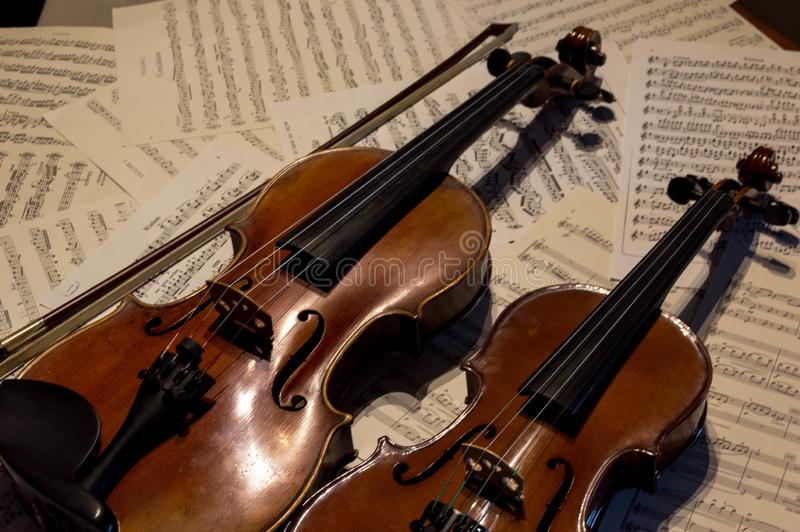 Wooden violin on a sheet music. stock photo