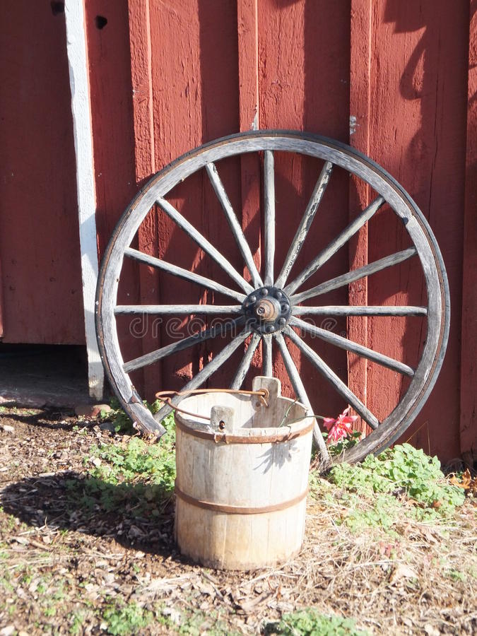 Wooden Wagon Wheel stock photography