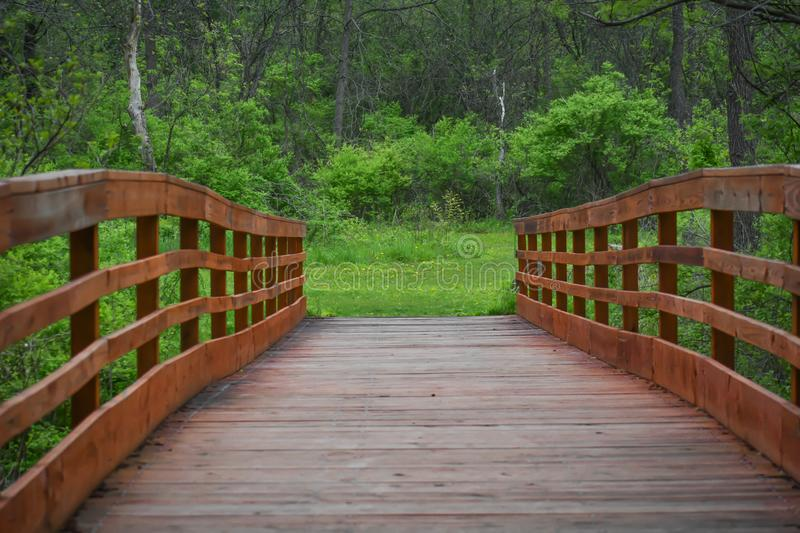 Wooden Walking Bridge - White River County Park royalty free stock photography