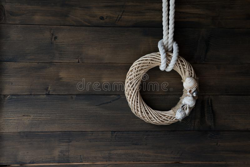 Wooden wall decoration with Sea thematic frame stock photo