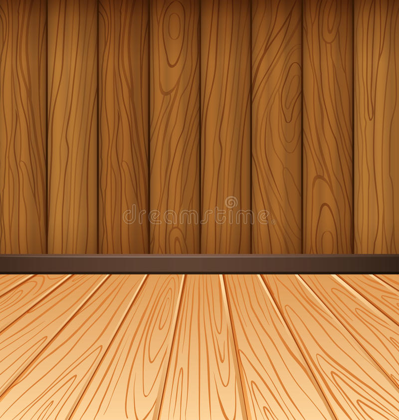 Wooden wall and wooden tiles vector illustration