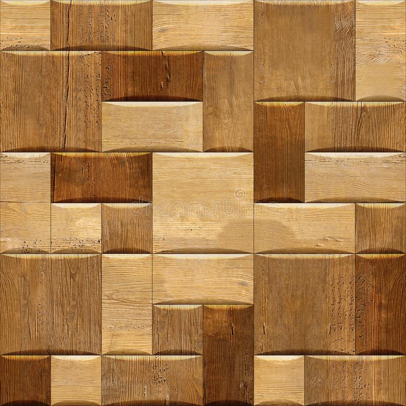 Wooden wallpaper decorative wall - seamless background texture. Repeating geometric tiles stock photo