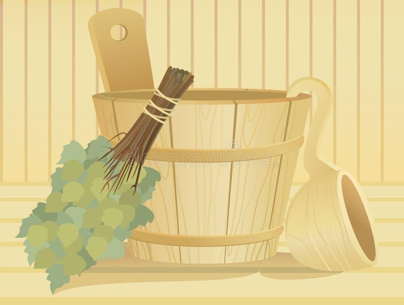 Download Wooden Washtub In The Sauna Stock Vector - Image: 14865432