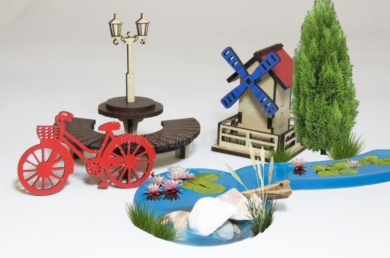 Wooden water mill maquette royalty free stock photography
