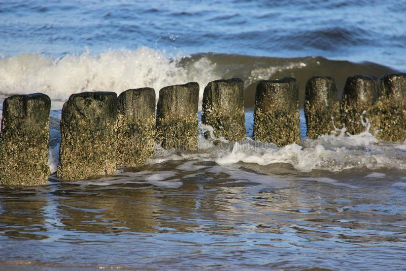 Wooden Wave Breaker stock images