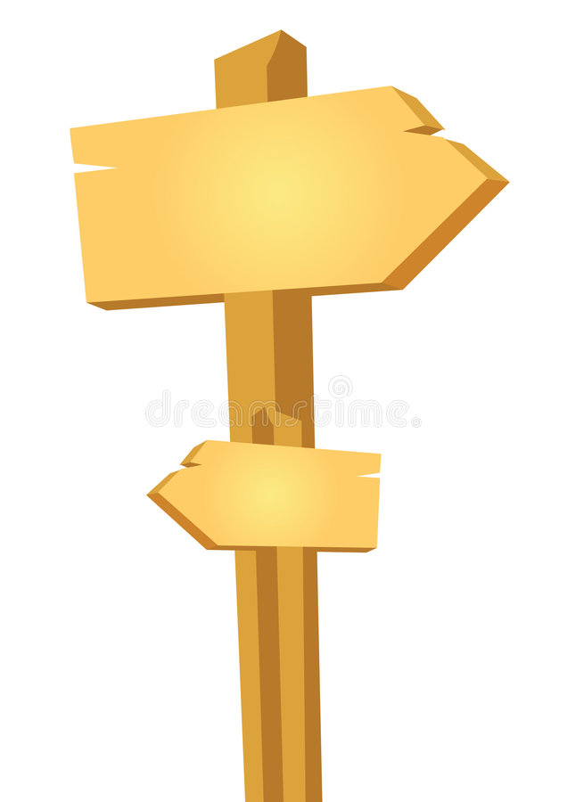 Wooden Way Board - Vector Royalty Free Stock Image