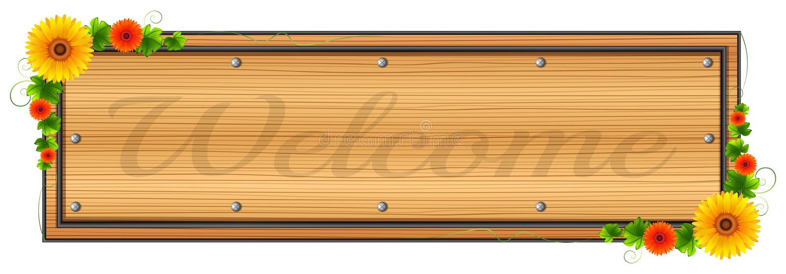 A wooden welcome signage royalty free illustration
