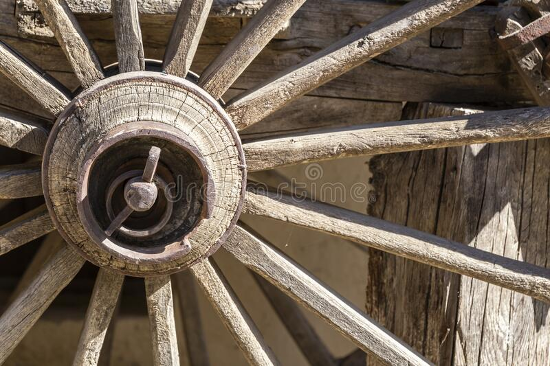 Old carriage wooden wheel gear stock photos