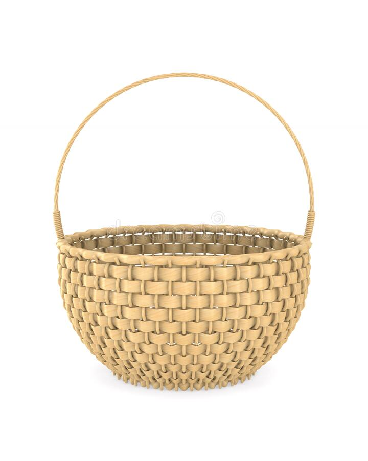 Free Wooden Wicker Basket On White Background. Isolated 3D Illustration Royalty Free Stock Photo - 172984925