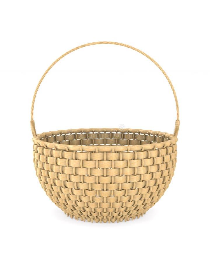 Wooden wicker basket on white background. Isolated 3D illustration.  vector illustration