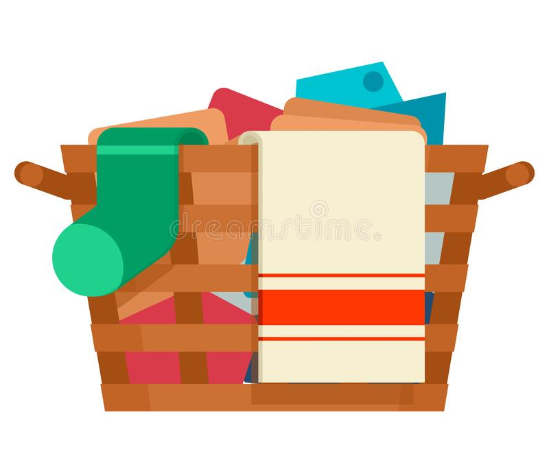 Wooden wicker laundry basket washing dirty clothes wash service cartoon flat design isolated on white icon vector. Wooden wicker laundry basket washing dirty vector illustration