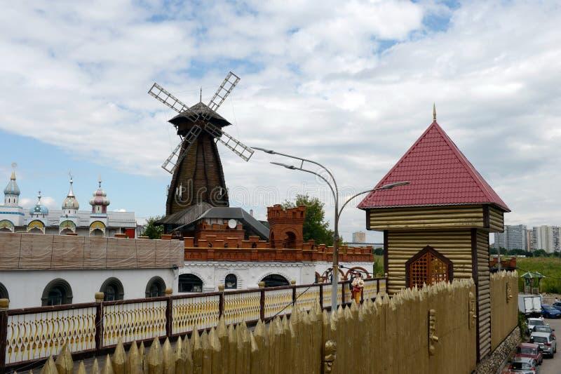 Wooden windmill in the Izmailovsky Kremlin, Moscow royalty free stock image