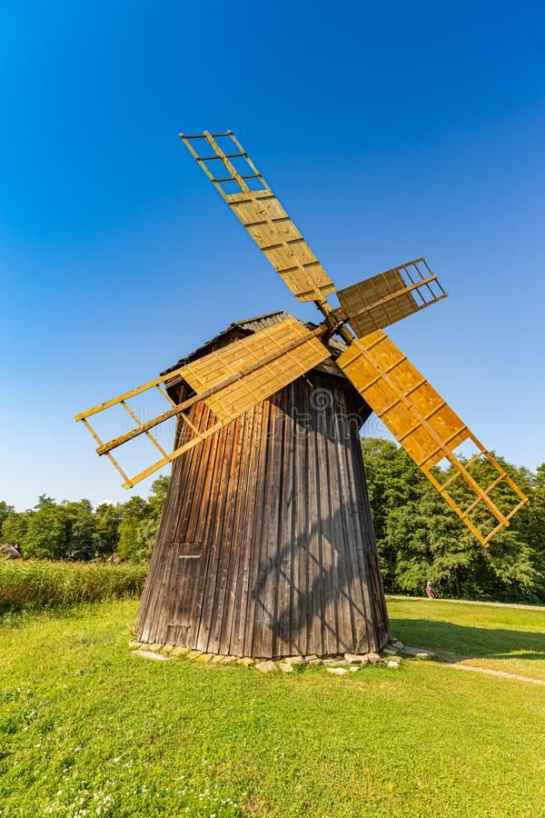 Wooden windmill royalty free stock photo