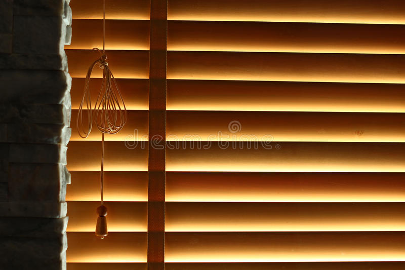 Wooden window blind stock image