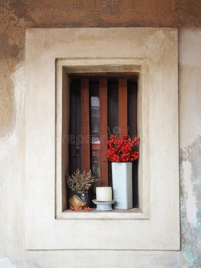 The Wooden Window and the Ceramic Vases royalty free stock photo