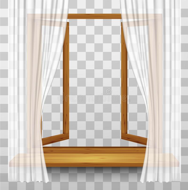 Wooden Window Frame With Curtains On A Transparent