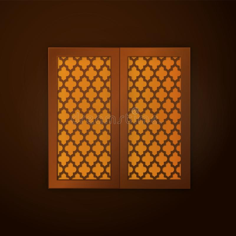 Wooden window frame with islamic pattern. soft light. illustration vector illustration