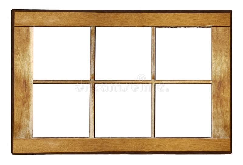 Wooden window frame. Old shabby window frame on white background stock photography