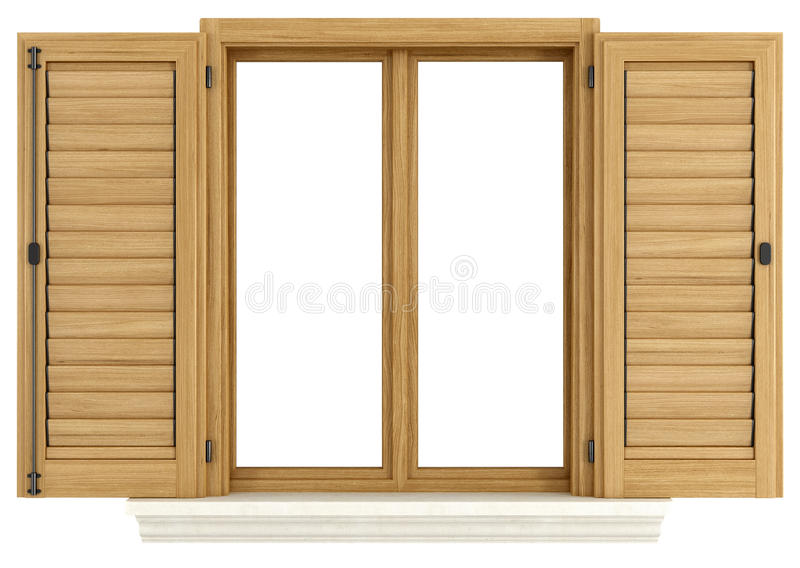 Wooden window with open shutter stock illustration
