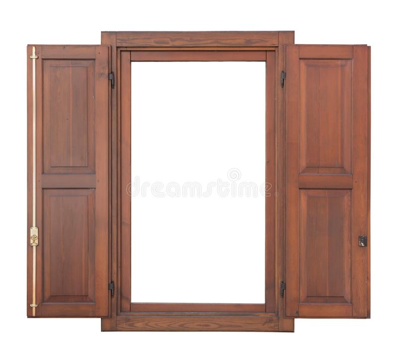 Wooden window with open shutter stock photography
