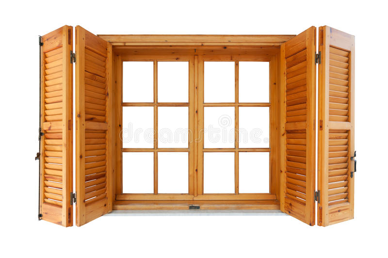 Wooden window with shutters. Exterior side isolated on white background stock photos