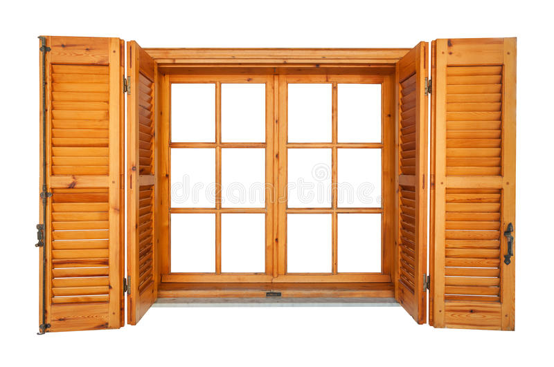 Wooden window with shutters isolated. On white exterior side royalty free stock images