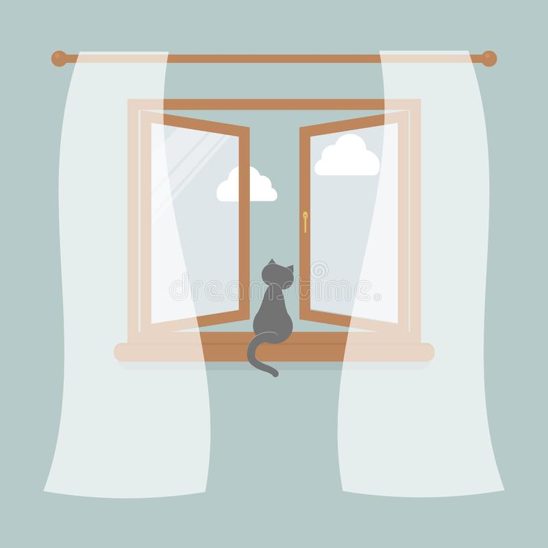 Wooden window with tulle as design element for interior of room on blue background. Outside the sky and white clouds. Cat sit on. Windowsill and looking in the royalty free illustration
