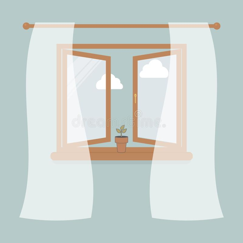 Wooden window with tulle as design element for interior of room on blue background. Outside the sky and white clouds. Plant in pot. On windowsill.Vector royalty free illustration