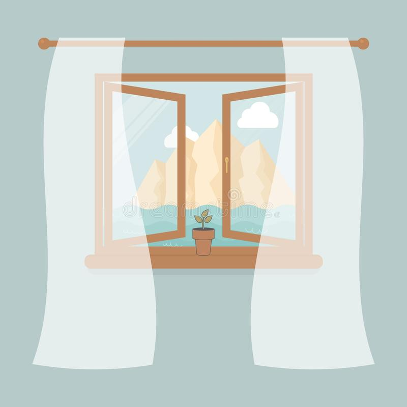 Wooden window with tulle as design element for interior of room on blue background. Outside summer landscape:sea, mountain,the sky. And white clouds. Plant in vector illustration