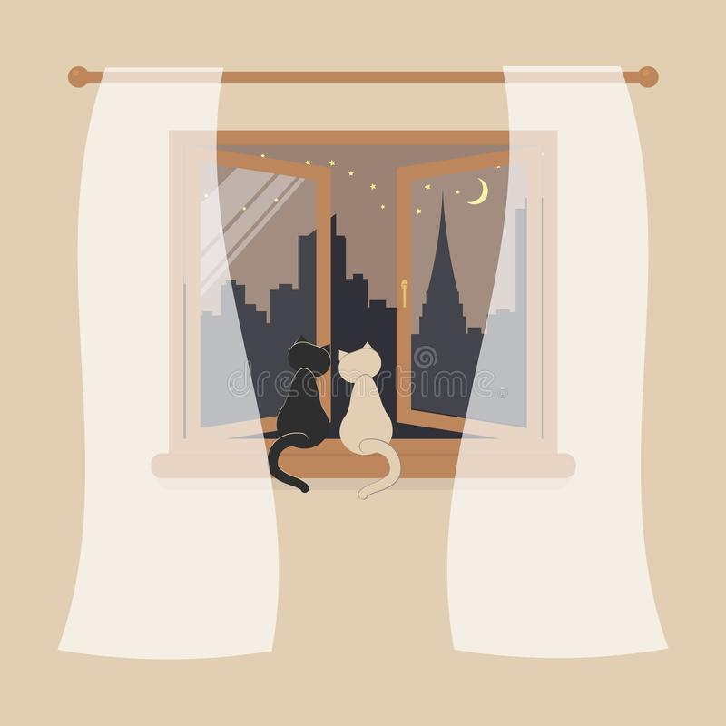 Wooden window with tulle as design element for interior of room on cream background. Night city scene or cityscape is outside. stock illustration