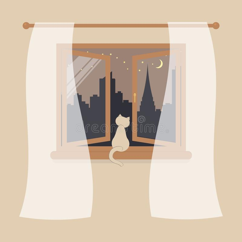 Wooden window with tulle as design element for interior of room on cream background. Night city scene or cityscape is outside. Cat. Sit on windowsill and vector illustration