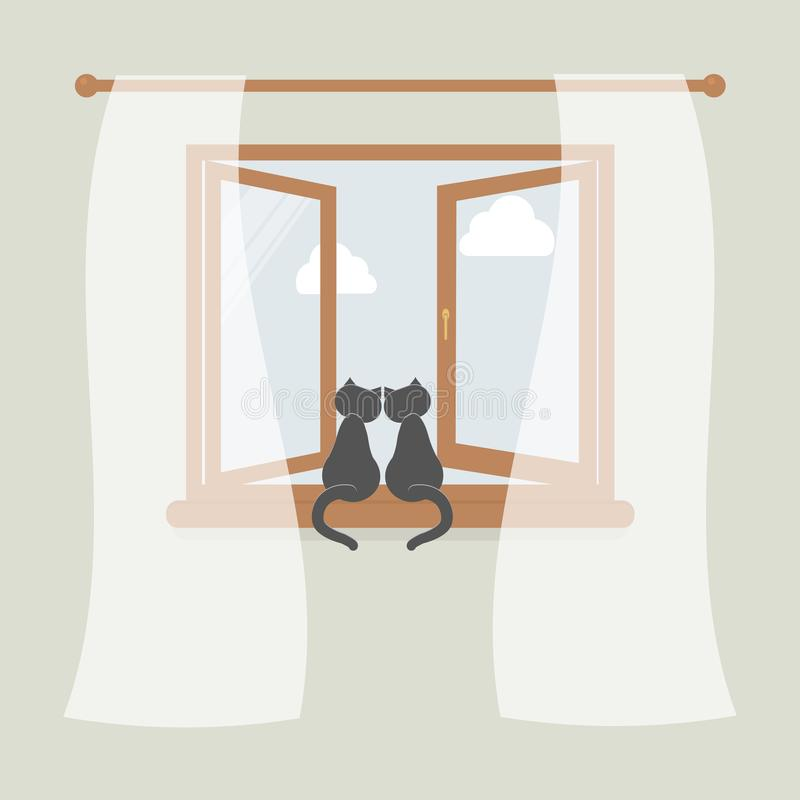 Wooden window with tulle as design element for interior of room on grey background. Outside the sky and white clouds. Pair of cats. Sit on windowsill and stock illustration