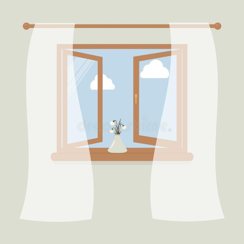 Wooden window with tulle as design element for interior of room on grey background. Outside the spring sky and white clouds. Vase. With snowdrops on windowsill vector illustration