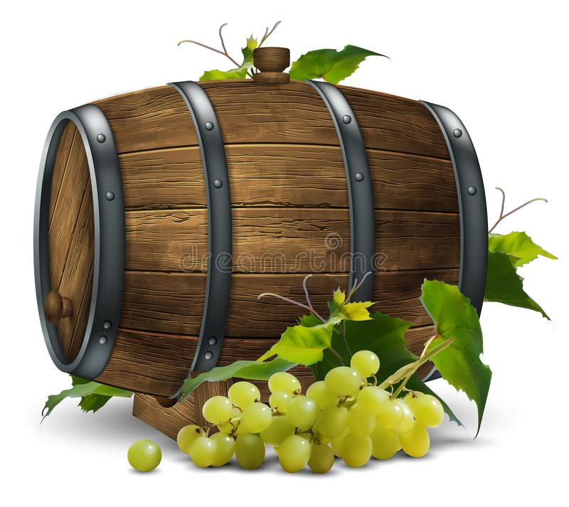 Wooden wine barrel and vine with a bunch of grapes. 3D vector. High detailed realistic illustration royalty free illustration