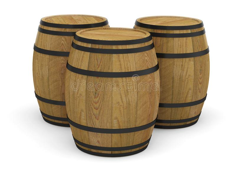 Wooden wine barrels alcohol beer barrel. 3D royalty free illustration