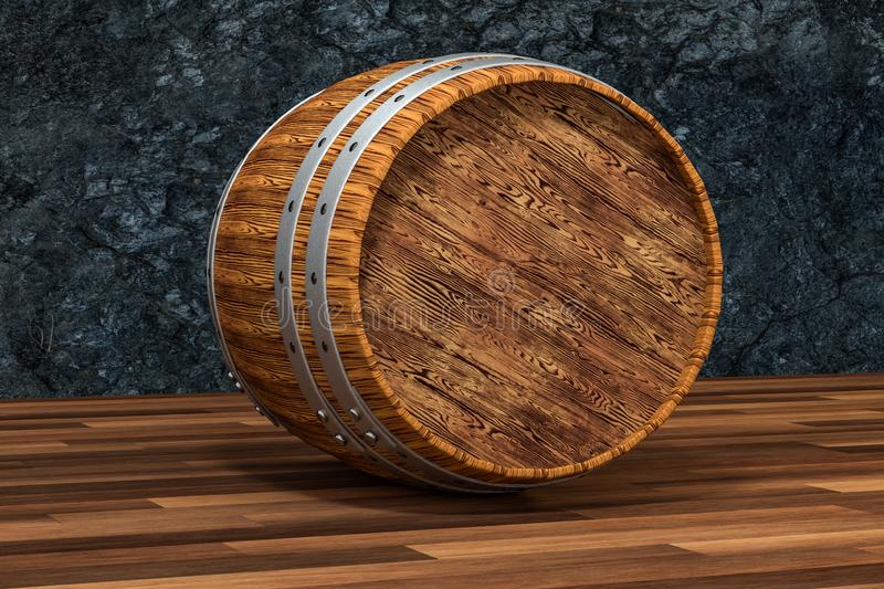 Wooden winery barrel with dark rust background, 3d rendering royalty free illustration