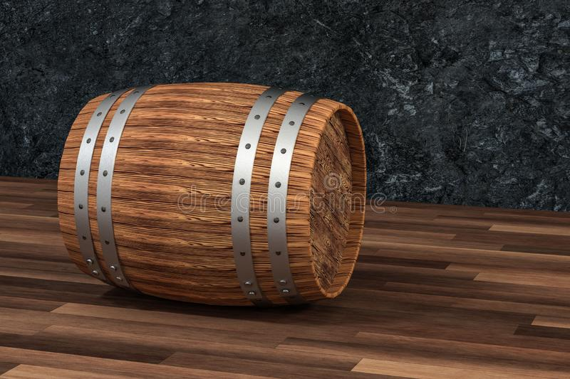 Wooden winery barrel with dark rust background, 3d rendering stock illustration